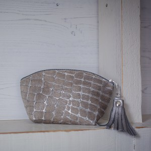 BoHo Leather Bag Silver Pebble