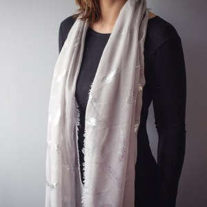 Silver Feather Scarf