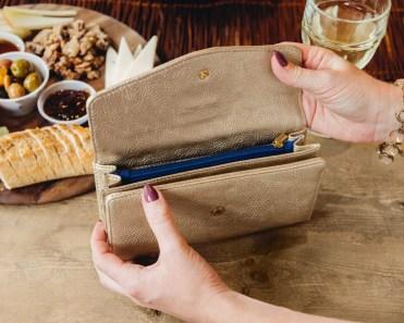 matte gold wallet by Klutch Handbags