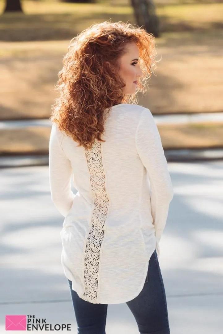 Stitch Fix Sharna Lace Back Knit Top