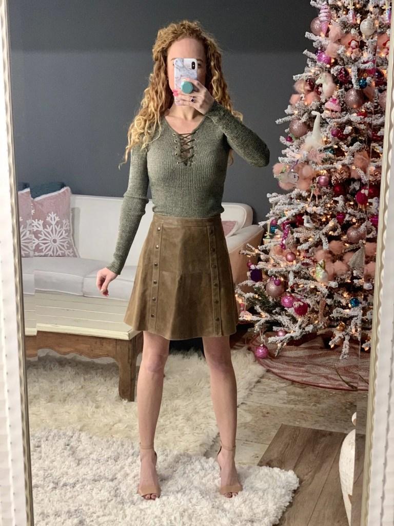 Hippie H Suede Detail Aline Skirt