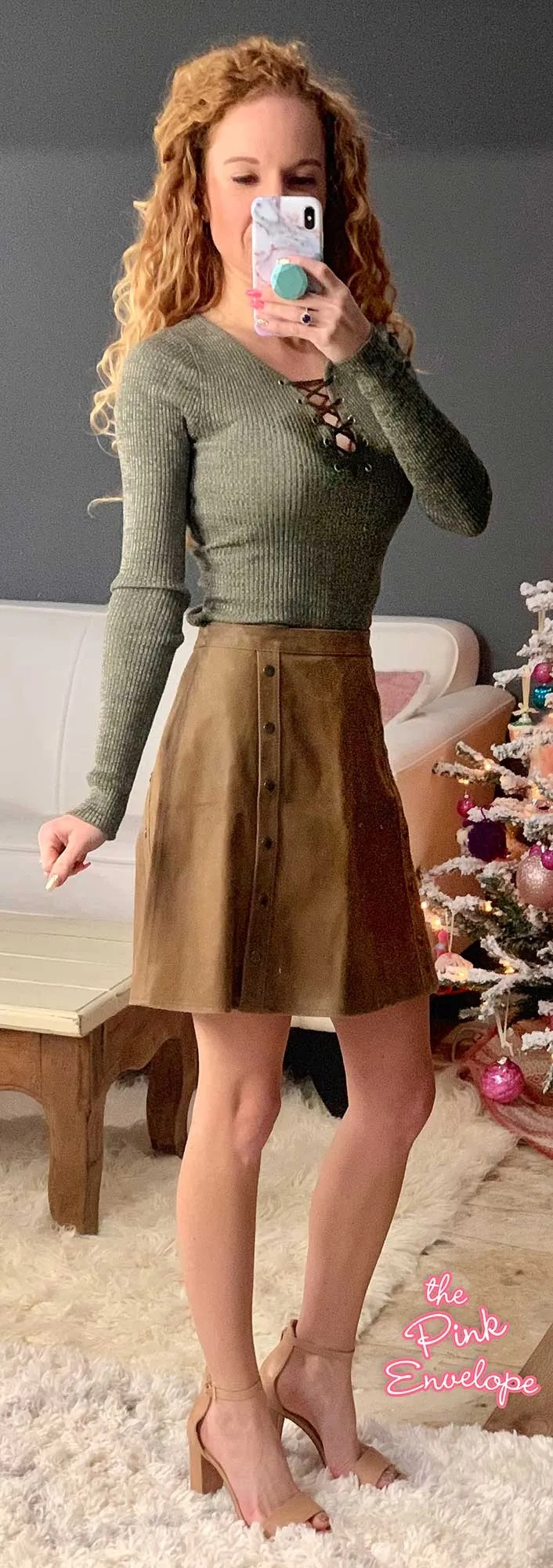 Derek Heart Lace Up Ribbed Shirt with the Hippie H Suede Detail Aline Skirt