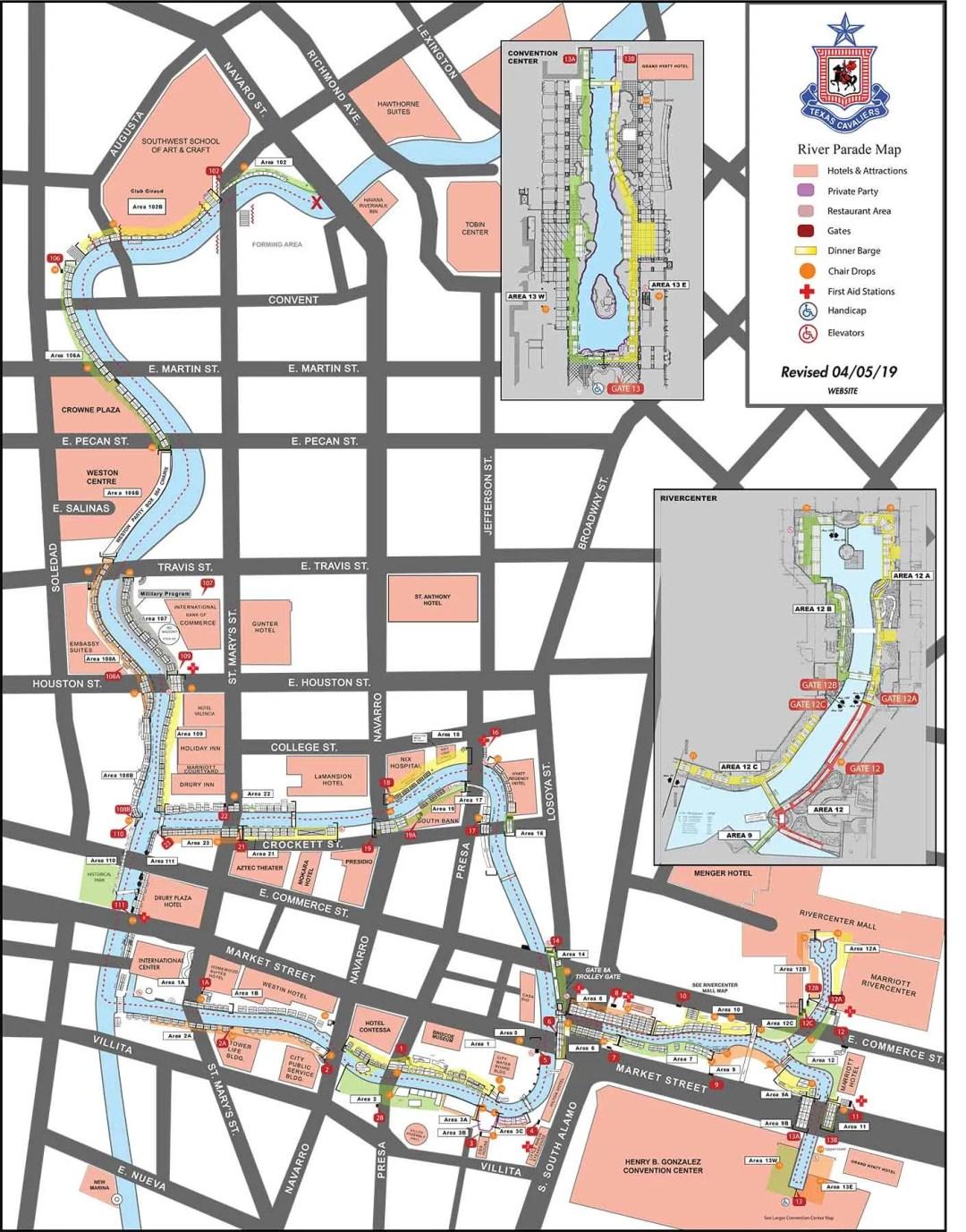 Texas Cavalier River Parade Map 2019