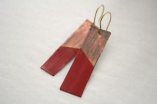Pumpkin Spice Distress Metal Dangle Earrings 1