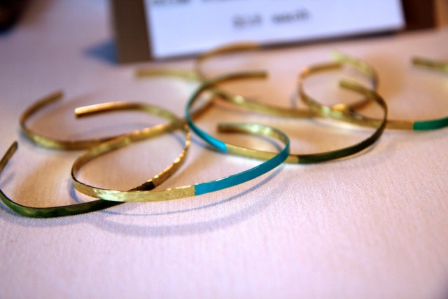 Slim Gold Stacking Bracelets - Gold Green Turquoise