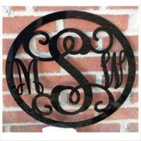 Acrylic Three Initial Wall Monogram With Border At The ...