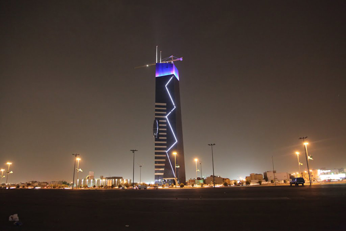 It looks like a thunder struck the Nakheel Tower with its lights design.