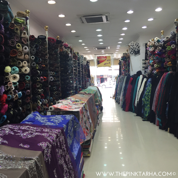 Inside one of the fabric stores