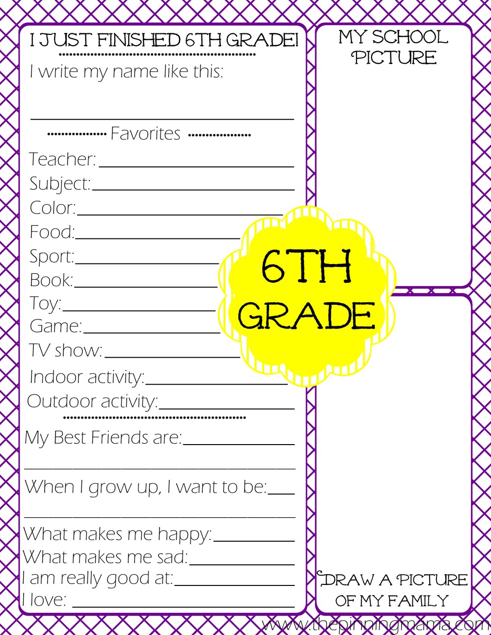 medium resolution of Free Printables} Kid's End of School Year Interview • The Pinning Mama