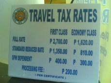 presyo ng babayarang travel tax base sa iyong category (funwithgovernment.blogspot.com)