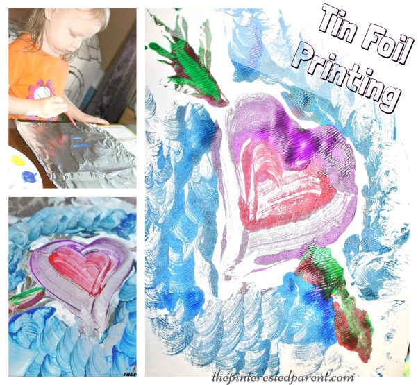 Paint on tin foil & then press onto a piece of paper for a beautiful painted transfer painting. A great srts & crafts activity to do with the kids