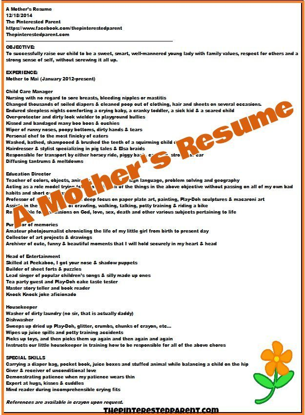 A Mother  39 s Resume     The Pinterested
