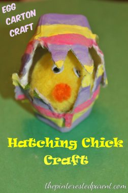 Hatching chick Egg carton kid's craft for Easter