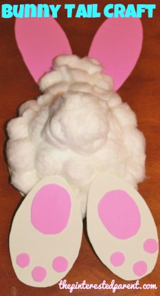 Easter bunny tail craft with paper bowl or plate & cotton balls