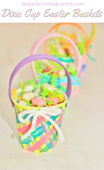 Dixie Cup mini Easter Basket Craft - cute idea for kid's classrooms or parties. Kid's arts, crafts & activities