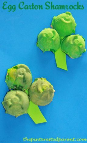 Egg carton shamrock kid's craft for St. Patricks Day