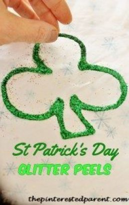 Shamrock Glitter Peels - St. Patrick's Day Kid's crafts