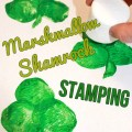 Marshmallow paint stamped shamrocks for St. Patrick's Day. Easy kid's arts and craft projects for preschoolers and toddlers