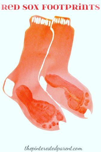 Red Sox Kid Footprint crafts