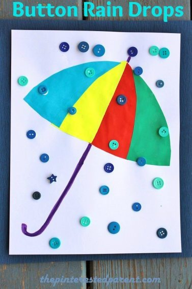Button Rain Drop Craft