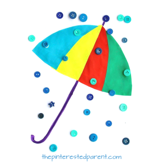 Button Rain Drops Craft for the spring. Kid's rainy day, umbrellas, weather arts and crafts. Great for toddlers and preschoolers