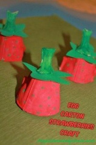 Egg Carton Strawberries Craft