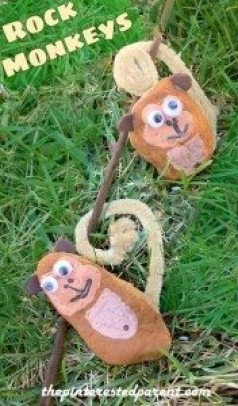 Painted Rock Monkey Craft