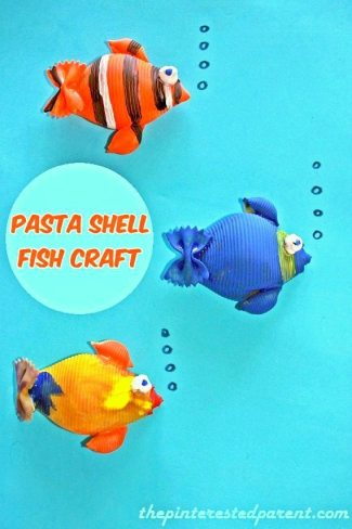 Pasta Shell Fish Crafts - cute summer arts & crafts project for kids.