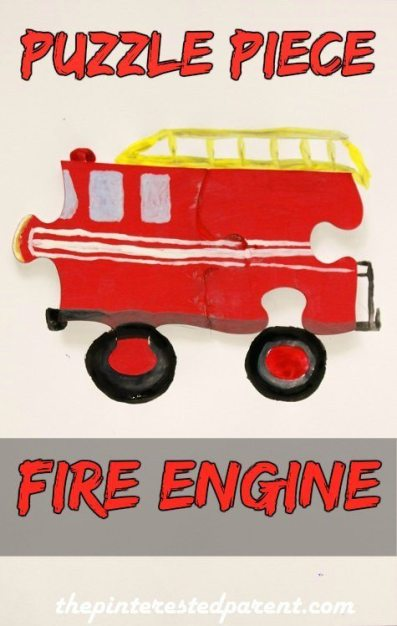 Recycled Puzzle Piece Fire Engine
