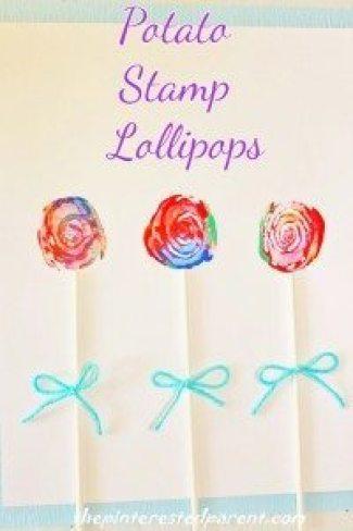 Potato Stamp Lollipops