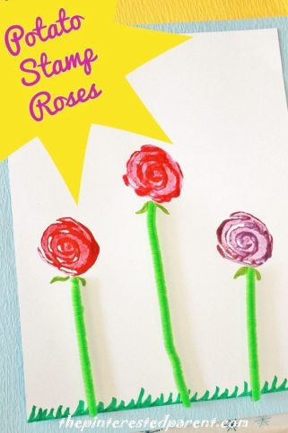 Potato Stamp Roses