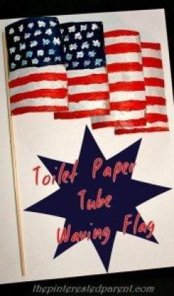 Create a waving flag for the 4th of July out of toilet paper tubes.