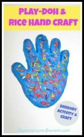 Play-Doh & Rice Hand Print Activity & Craft