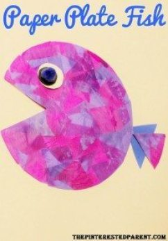 paper plate tissue paper fish
