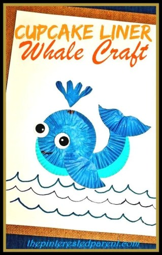 cupcake liner whale craft - cute summer arts & craft project for the kids
