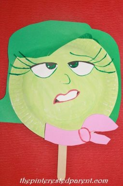 Inside Out Character Paper Plate Mask - Disgust