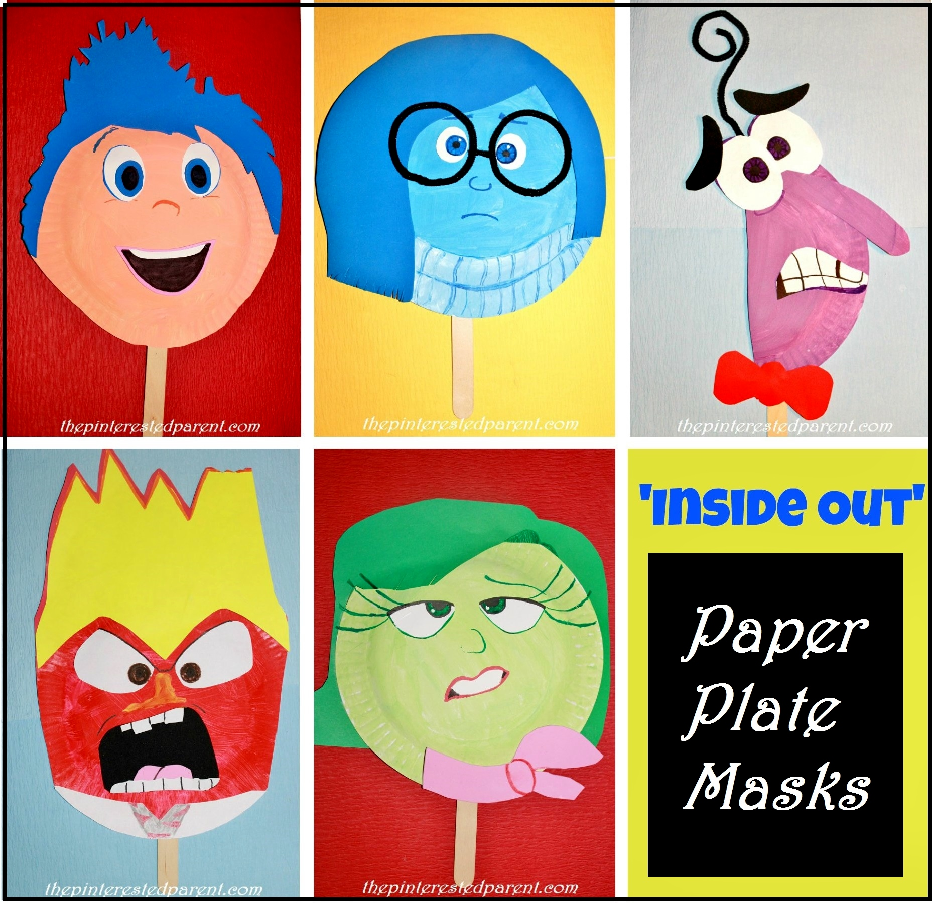 Inside Out  sc 1 st  The Pinterested Parent & Inside Outu0027 Paper Plate Masks u2013 The Pinterested Parent
