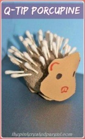 Q-tip porcupine craft