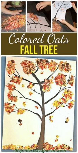 Fall Tree made out of colored oats. A great sensory & arts and craft project for the kids for the fall autumn
