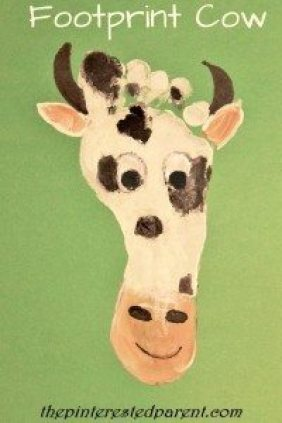 Footprint Cow - Footprint Crafts from A to Z - C is for cow