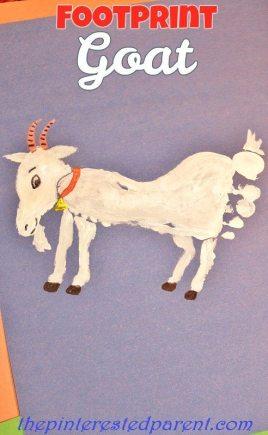 Footprint Goat Craft - Footprint crafts A-Z G is for goat