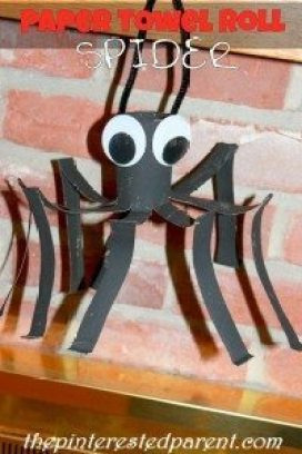 Paper TOwel Roll Spider Craft