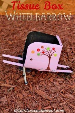 Tissue Box Wheelbarrow Craft - working wheelbarrow. cute fall craft