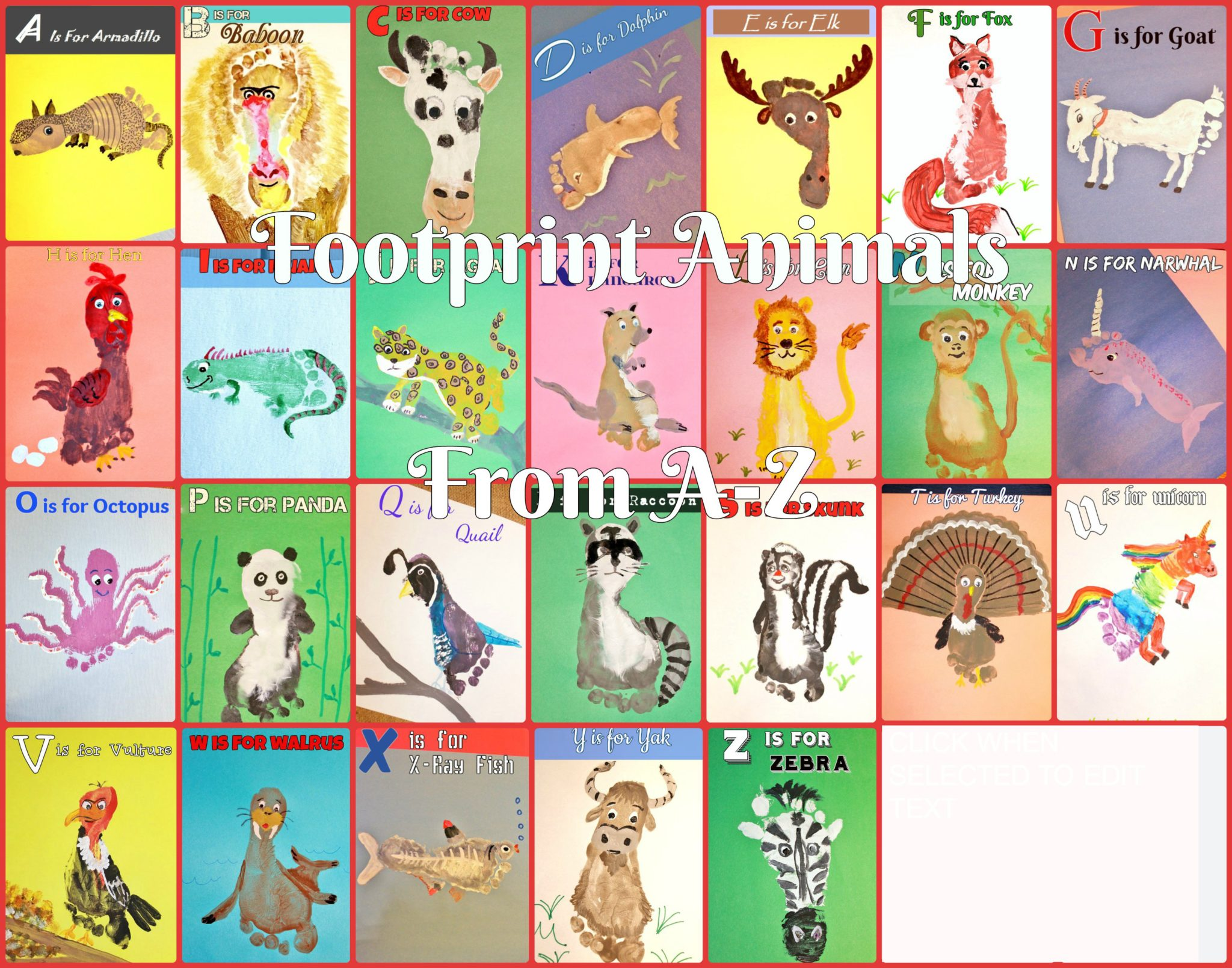 A Z Footprint Animal Crafts The Pinterested Parent