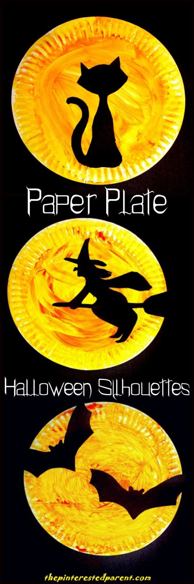 Halloween paper plate silhouette crafts the pinterested parent halloween paper plate silhouettes with printable template choose from a black cat a witch jeuxipadfo Image collections