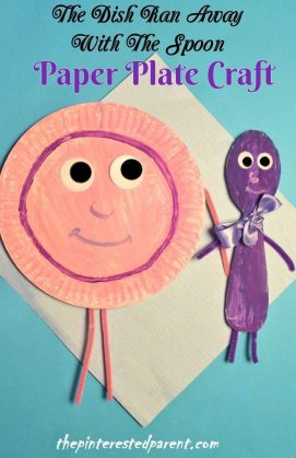 Hey Diddle Diddle Nursery Rhyme Craft - Paper Plate Kid's Craft - The dish ran away with the spoon