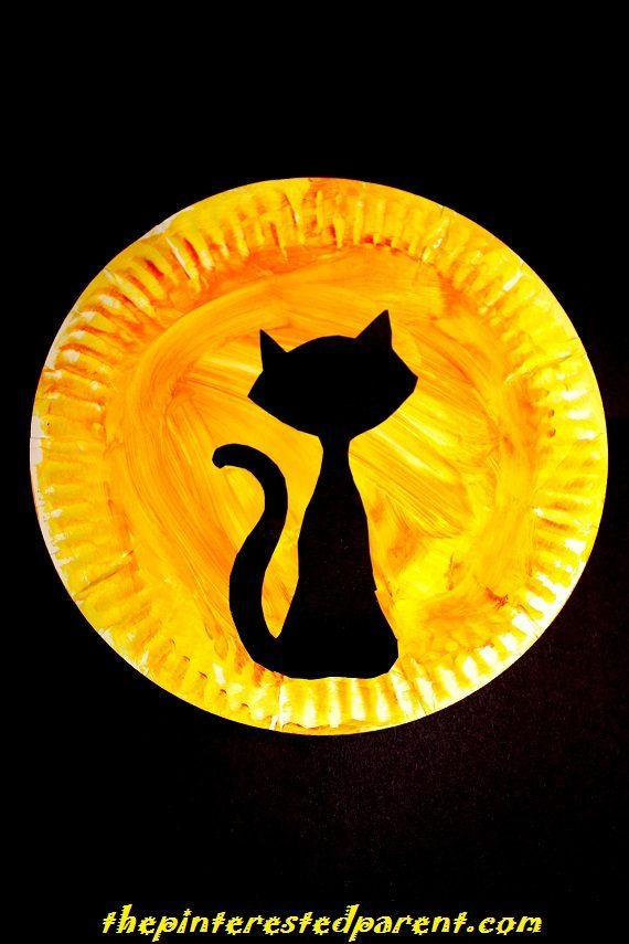 Halloween Paper Plate Silhouettes with printable template . Choose from a black cat a witch  sc 1 st  The Pinterested Parent : cat paper plate - pezcame.com