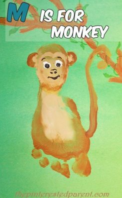 M is for monkey footprint craft