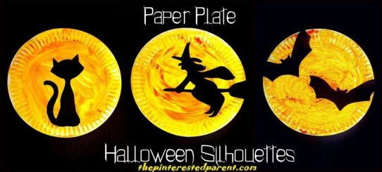 Halloween Paper Plate Silhouettes with printable template . Choose from a black cat, a witch or bat silhouettes - Halloween arts and crafts for kids.
