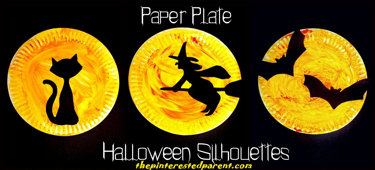 Halloween Paper Plate Silhouettes With Printable Template Choose From A Black Cat Witch